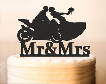 Motorcycle Couple Wedding Cake Topper,Motorcycle Cake Topper,wedding cake topper bride and groom,Wedding Bike Cake Topper (0215)
