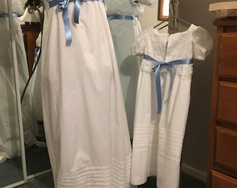 """Women's Regency Dress in White with Lace and Ribbon detail  """"REBECCA ORMONDE"""""""