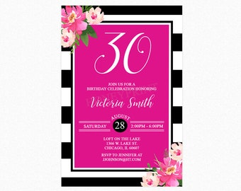 Hot Pink and Black White Stripes Birthday Party Invitation, Kate Spade Inspired, Personalized Any Age, Printable  or Printed Invitations