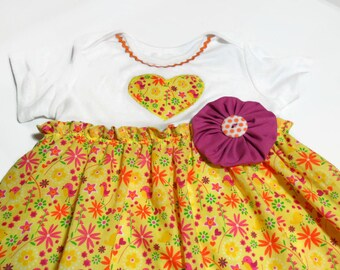 Little Girl Dress, Girls Yellow Dress, Girls Bodysuit Dress, Summer Dress, Girls Spring Dress, Easter Dress, Dress 24 Month, Toddler Dress,