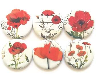 Red Poppy Magnets, Fridge Magnets, Poppy Flowers, Magnet Set, Decorative Poppies, Red Poppies, Flower Magnet Set, Refrigerator Magnets 6/Set