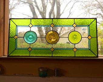 Custom Sidelight / Transom Rondel Stained Glass Panels
