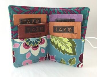 Tea Bag Case - Tea Bag Holder - Tea Wallet- Tea Bag Wallet- Tea Holder - Tea Bag Organizer -  Riley Blake Botanique Flowers Teal