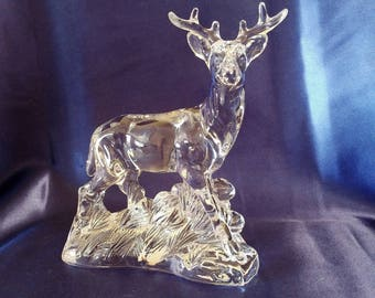 """Crystal Deer Buck Stag Statue / Figurine Wonders of the Wild Excellent! 6.25"""" tall By Princess House"""