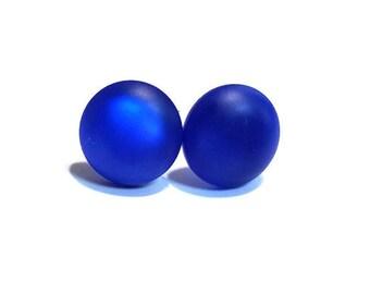 Royal Blue Stud Earrings, Cobalt Blue Resin Button Stud Earrings, Minimalist Blue Post Earrings