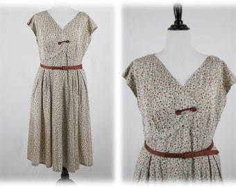 1950s Floral Fit and Flare Dress NOS Plus Size