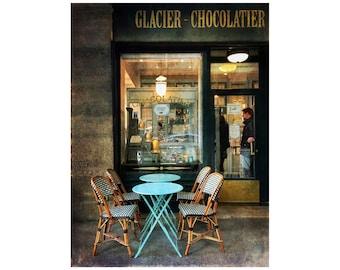 Paris Pastry Shop, Sidewalk Café, Aqua, Patissiere, Glacier, Travel Photography