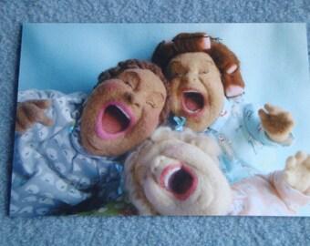 Laughing girls postcards