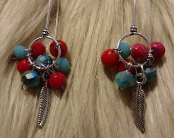 Aqua and Orange cluster and feather earrings