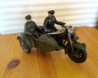 Original  Cast Iron Police Harley Motorcycle Motorbike and Sidecar with two original Policeman