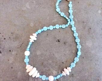 Vintage czech glass necklace, vintage glass bead necklace, white and blue glass necklace, blue glass beads, white glass beads, vintage bead