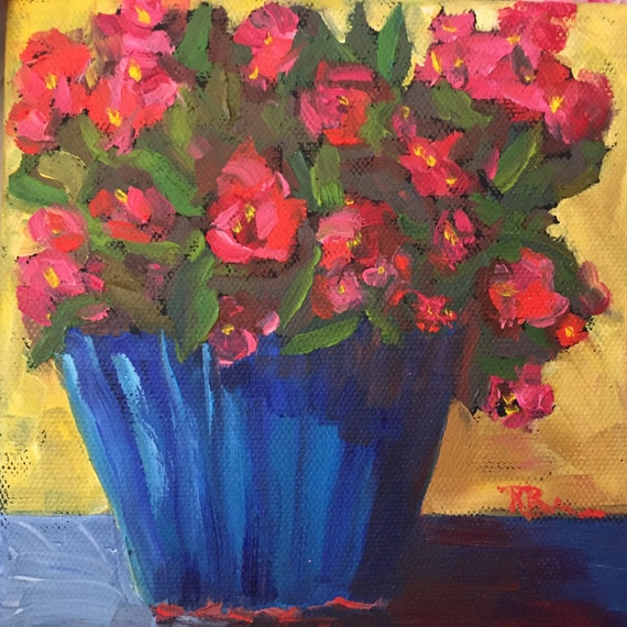 Red, canvas art, Original, Small, Oil Painting, Tiny Still Life, Red Begonias, Summer Flowers