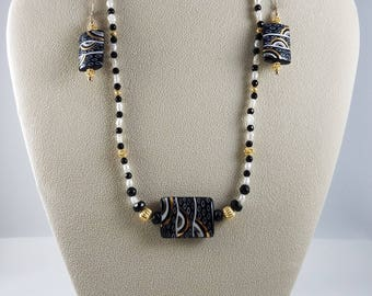 Black, Gold and White Puffy Rectangular Porcelain Bead Necklace & Earring Set