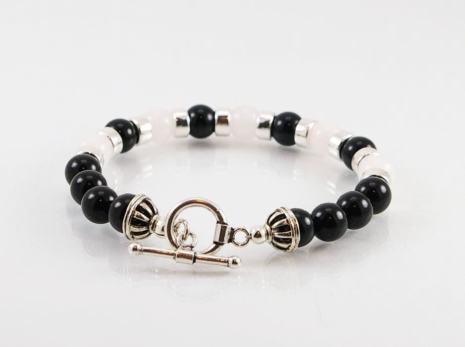 detail natural and mens with bangles beaded wholesale product polished black stretch bracelet matte onyx