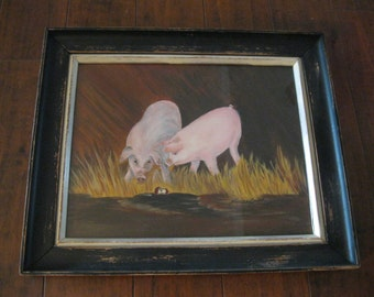 ORIGINAL PIGS Painting=Two Pigs Acrylic PAINTING=Hand Painted Pigs=Pigs Painting And Crafted Frame=Farm Pigs=Kitchen Pigs Art Decor=Pigs Art