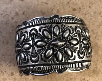 Sterling Silver Navajo Hand Made Cuff Bracelet Signed
