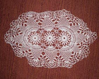 Vintage Single 1940s to 1960s Doily White Crochet Oblong