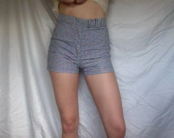 SALE 20%OFF 1960's High Waisted Blue and White Gingham Shorts 26