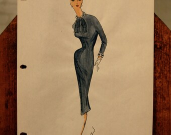 original fashion sketch // 40s 50s
