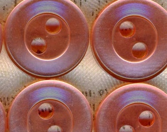 25 Luminescent Translucent Pink Plastic Sewing Buttons 7/16 inch 11mm
