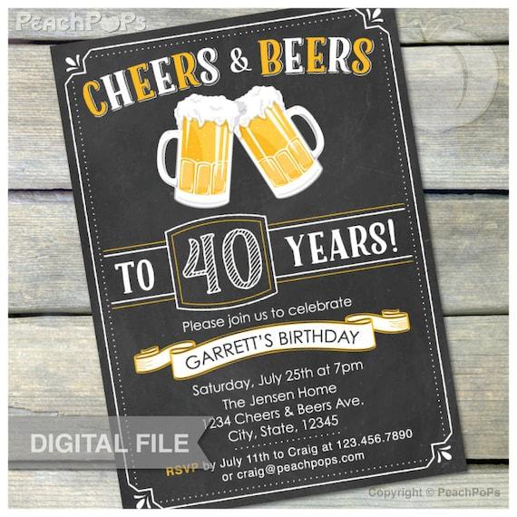 40th birthday invitation men cheers  u0026 beers invite chalkboard