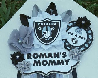 Baby Boy Raiders Football Themed Mommy To Be Baby Shower Corsage or Badge