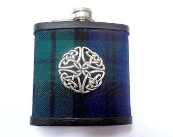 Hip flask in Black Watch tartan with celtic knot Scottish gift for men made in scotland retirement  best man groomsman father's day present