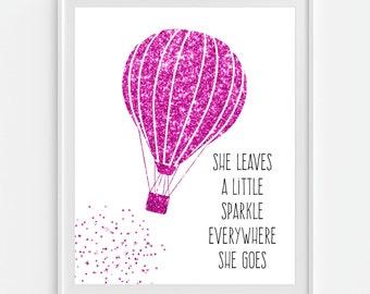 Hot Air Balloon Art Print, Faux Teal Glitter 'She Leaves A Little Sparkle... Pink, Blue, Purple or Green, Nursery Wall Art, Nursery Decor