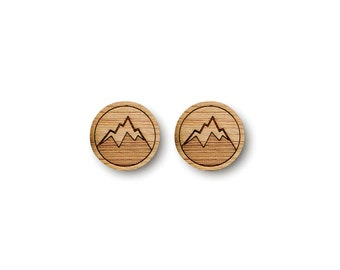 Mini Mountain Earrings. Mountain Earrings. Wood Earrings. Stud Earrings. Laser Cut Earrings. Bamboo Earrings. Gifts For Her. Gift For Women.