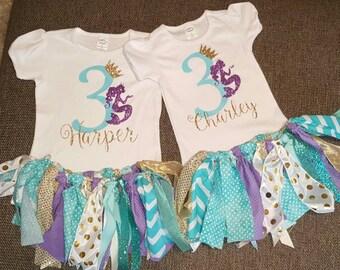 mermaid birthday shirt and tutu,  mermaid birthday outfit, mermaid fabric tutu
