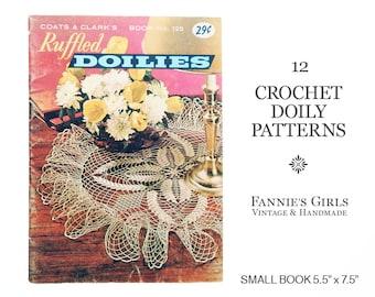 Doily Patterns, Coats & Clark, Book 125, crochet doily, crochet doilies, crochet pattern book, vintage doily pattern, ruffled doilies, 1961