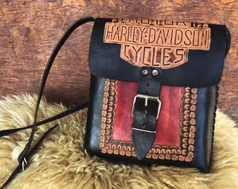 Harley Davidson tooled vintage leather purse