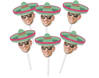 Sombrero Cupcake Toppers with Custom Face Photo (12 count) - green sombrero