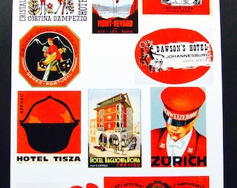 Vintage Luggage Label Images Paper, on Card Stock 8.5 X 11 Sheet R-1. NOT Digital