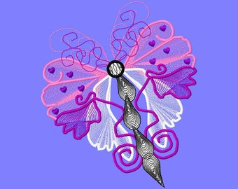 Butterfly Art Machine Embroidery Design by Letzrock  3095