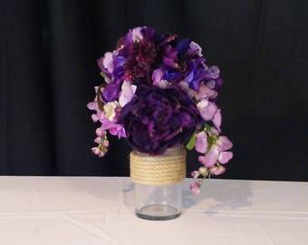 Rope-Wrapped Glass Vase // Wedding/Party Centerpiece // Home Decor // Nautical Centerpiece/Decor // Candleholder