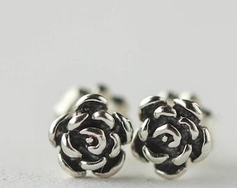 Silver Rose Earrings, Sterling Silver Jewelry, Flower Post Earrings, Ready to Ship