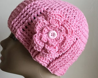 Women's crochet hat, summer / spring, COTTON/SILK, chemo hat, pink, removable flower, Ready to ship.  S45