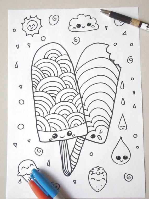 Gelati kawaii da colorare per bambini adulti ghiaccioli amanti for Neonati da colorare e stampare