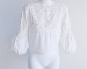 Puffed Sleeve Cotton Peasant Style Blouse - Sz S