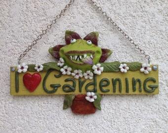 Carnivorous plant love gardening sign