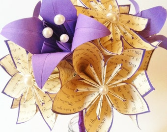 """A dozen """"I Love You's"""" - 12 paper flowers and lilies, one of a kind gifts for her, 1st anniversary, bouquet, made to order, paper bouquet"""