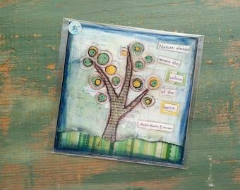 "SALE! Tree Print, 5""x5"" Tree Art, Inspirational Art Print, Whimsical Tree, Mixed Media Print, Sale Print, Clearance print, Spirit Tree"