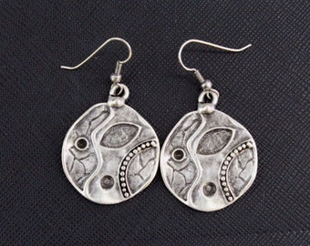 Turkish Silver Plated Earrings, Ottoman Round Earrings, Silver Plated Earrings