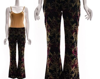 Vintage 90s Clueless Cher Pants Black Gold Burgundy Satin Brocade Flare Mini Bell Bottoms Versace Style Pants Low Cut Small