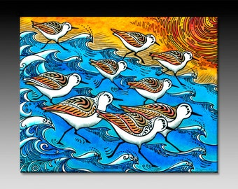 Sanderling Dance Ceramic Tile Wall Art