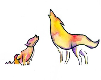 WOLF art print | woodland animal prints, modern nursery art, woodland animals baby, modern art print, watercolor print, wild woods