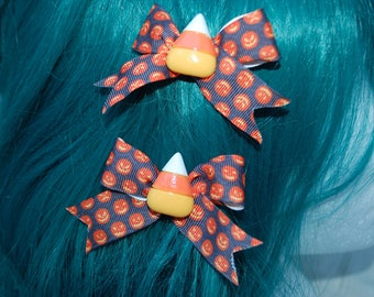 Halloween Jack o Lantern Candy Corn Bows