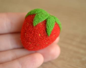 Needle Felted Strawberry Brooch - Handmade Cute Gift