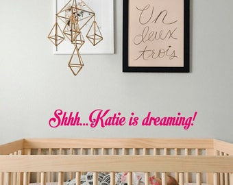 Baby is dreaming wall decal-Baby name decal-Nursery wall decals-Personalised name decal-Kids room decal-Nursery vinyl decal-Wall quote decal